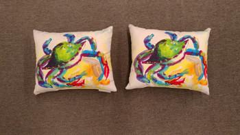Teal Crab Pillow - set of 2