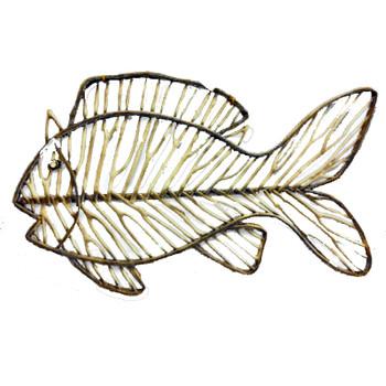 "36"" DRIFTWOOD FISH WHITE DREY WALL DECOR"