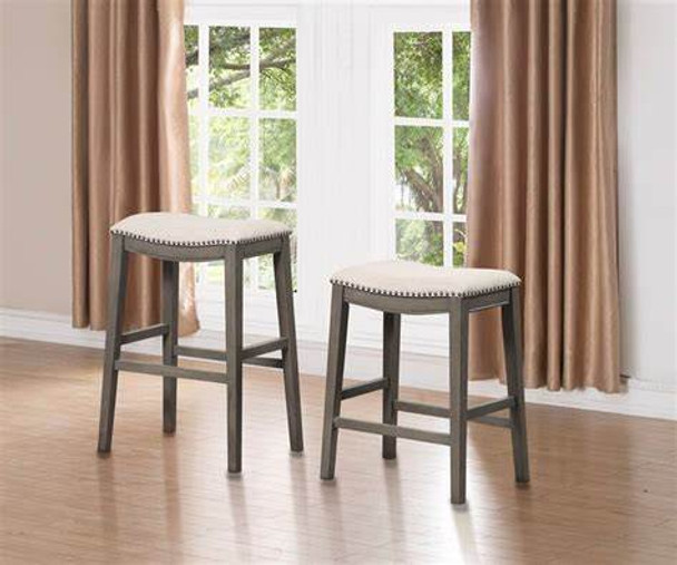 "Grey Fabric 24"" Counterstool - set of 2"