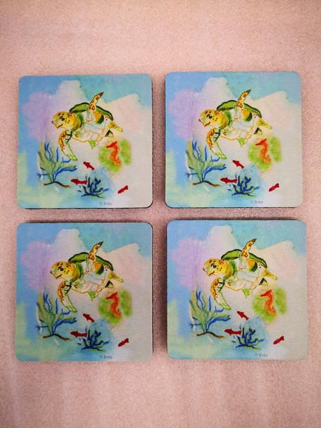 Betsy's Sea Turtle Coasters - Set of 4