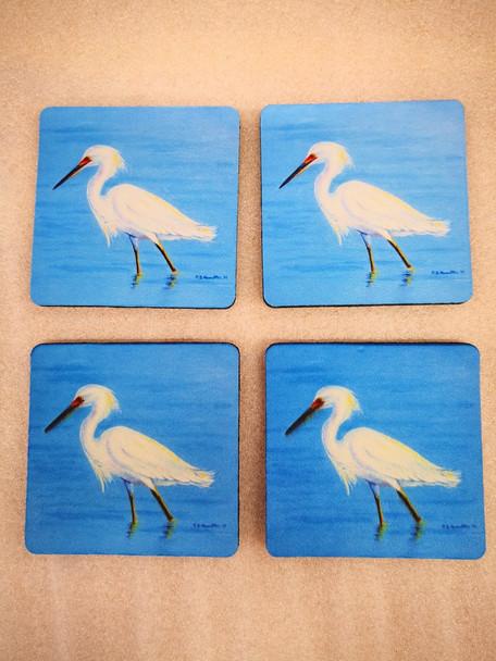 Stalking Snowy Egret Coasters - Set of 4