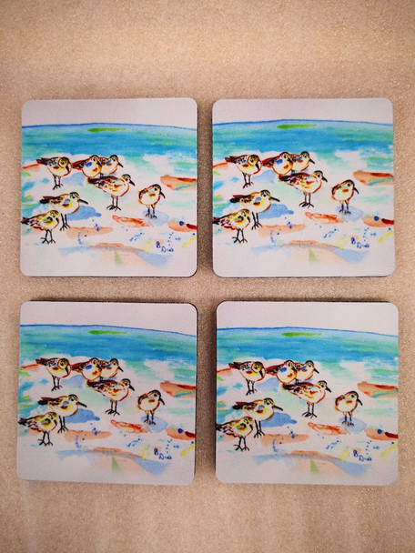 Seven Sanderlings Coasters - Set of 4