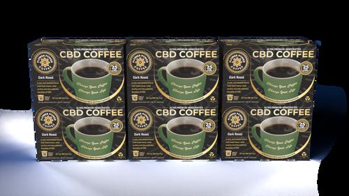 Dark Roast CBD Coffee Case of 6 Boxes (60 pods)