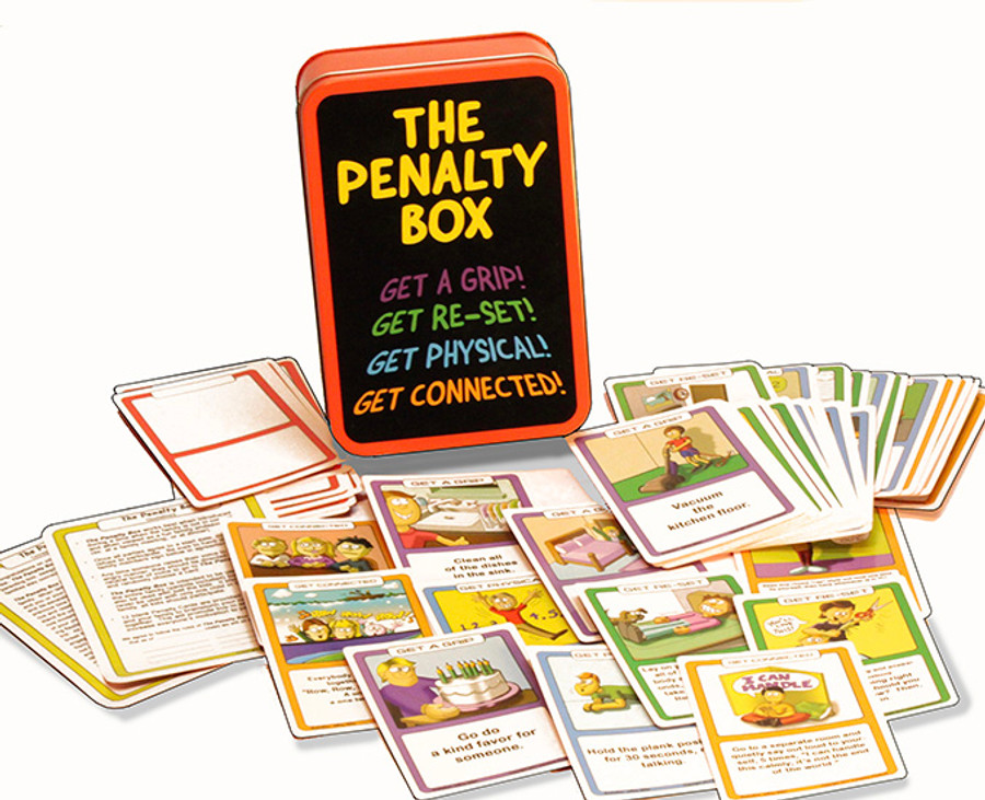 """The Penalty Box is an innovative, hands-on parenting tool.  It was designed by a child psychologist to help families stay connected during turbulent times. When tempers flare, someone calls a """"penalty"""" and the person who """"crossed the line"""" draws a card from the Penalty Box, and follows the instructions on the card. The cards include three categories of research based anger management strategies (52 cards in all- 30 anger management activities, 10 chores and 12 blank cards for families to brainstorm their own ideas). The fun comes from not knowing what you are going to get, a quick run around the house that leaves everyone laughing, or a chore such as cleaning your bedroom. All of the cards were designed as a means to take a break from thinking about the angry situation, and to engage in a fun (or maybe not so fun) activity until the topic can be revisited more calmly."""
