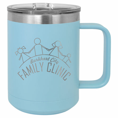 Lt. Blue 15 oz. Vacuum Insulated Mug with Slider Lid
