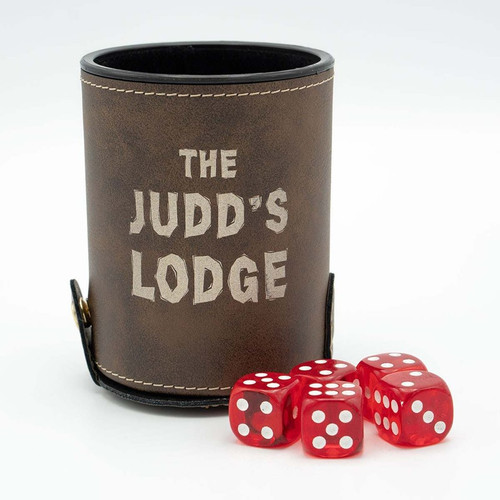 Custom engraved dice cup with dice