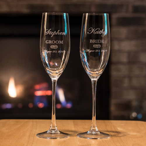 Custom engraved champagne flutes