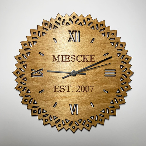 Custom engraved wood wall clock