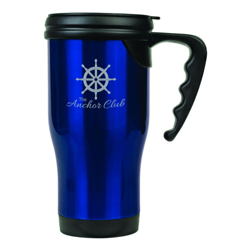 Blue 14 oz. Stainless Steel Travel Mug with Handle