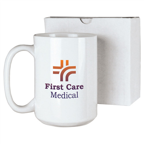 15 oz. White Ceramic Mug with box