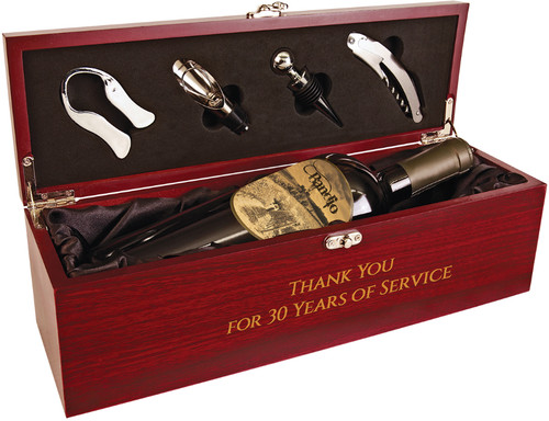 Rosewood Finish Single Wine Box with Tools and Black Satin Lining
