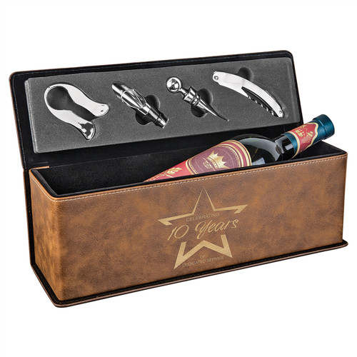 Custom Engraved Rustic/Gold Leatherette Single Wine Box with Tools