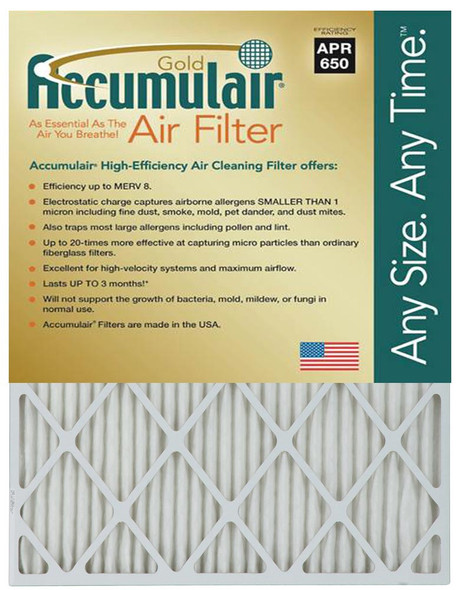 Accumulair Replacement Filters - 2'' MERV 8 Rating (6 per case)