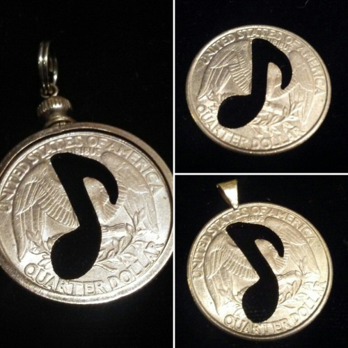 Musical Note Cut Out from a Quarter
