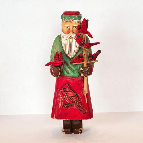 Hand Carved Cardinal Santa Front