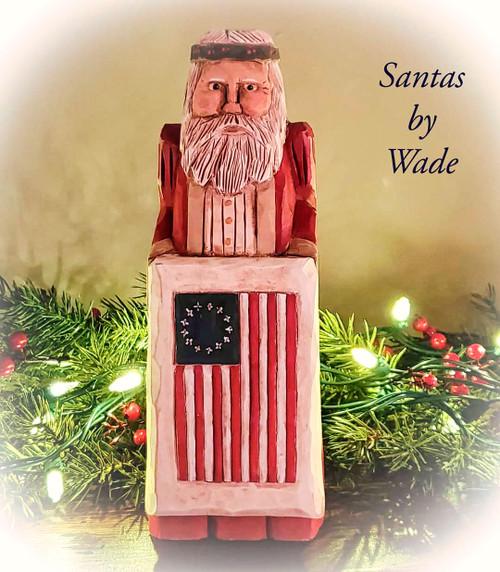 Hand Carved Betsy Ross Santa