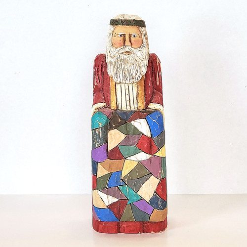Hand Carved Large Quilt Santa Front View