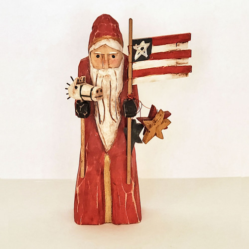 Hand Carved Patriotic Santa Front View