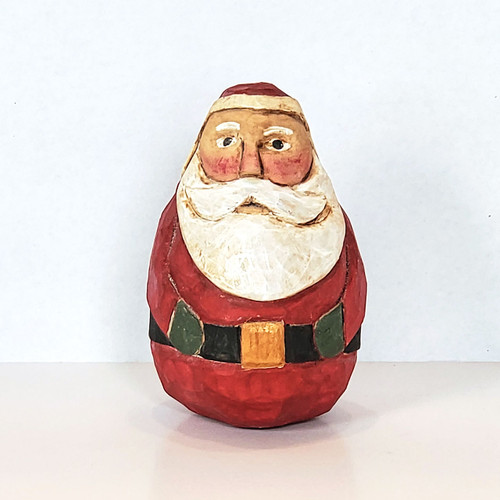 Hand Carved Roly Santa Front View