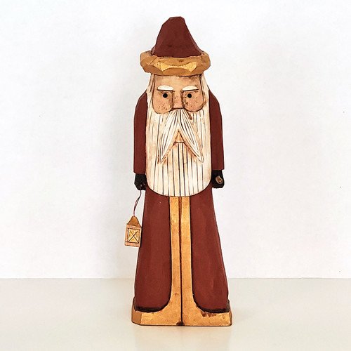 Hand Carved Walking Stick Santa Front View