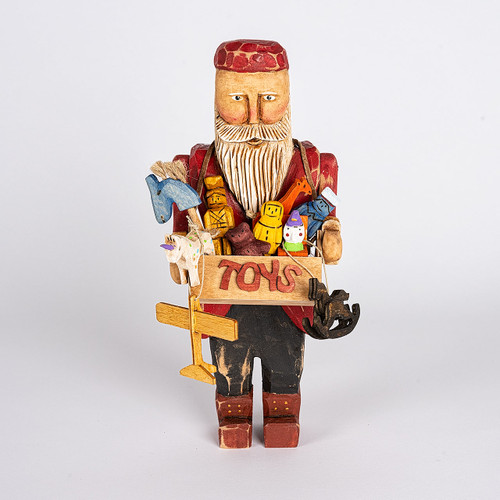Hand Carved Toy Box Santa Front View