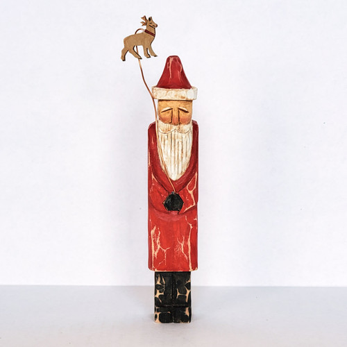 Hand Carved Flight School Santa Folk Art Front View