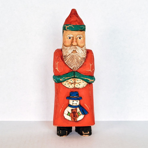 Hand Carved Santa and Friends  Folk Art Front View