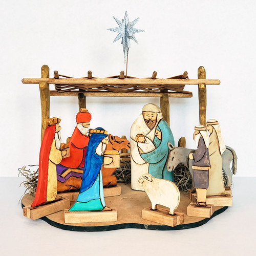 Hand Carved Oh Holy Night Nativity Folk Art Front View