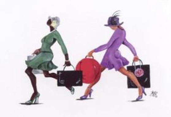 Power Shopping Art Print  On Canvas 18 x 24 - Annie Lee