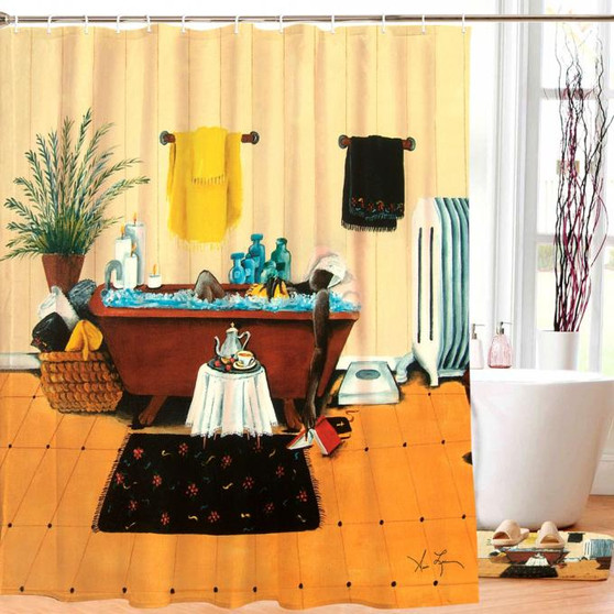 Steeping and Soaking Designer Shower Curtain--Annie Lee