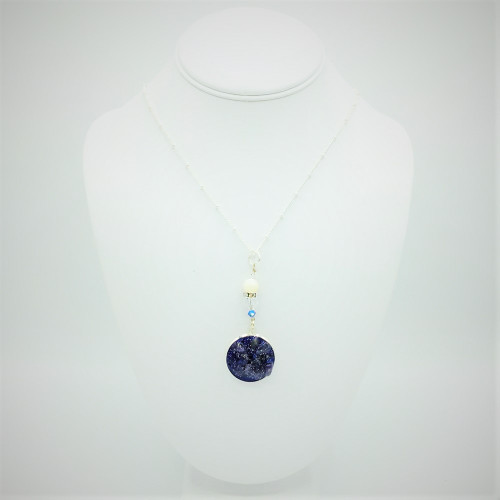 Traci-Amethyst 25mm Silver Drop Agate Necklace