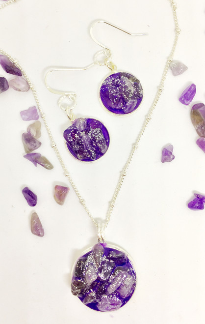 Traci-Amethyst Silver 16 mm Necklace Earring Set