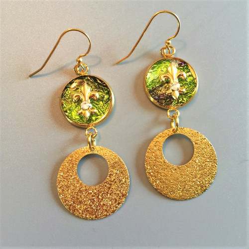 16mm Frosted Circle Brass Dangle Earring