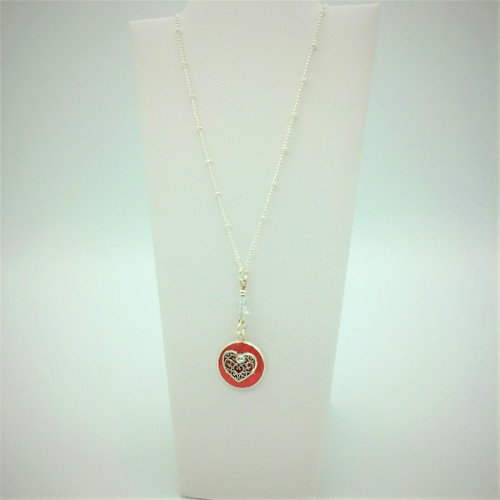 """Heart Necklace 18"""" chain- Red/Coral"""