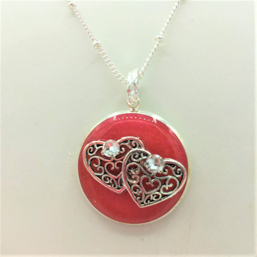 """1"""" Circle Heart Necklace -26-30"""" Silver plated chain"""
