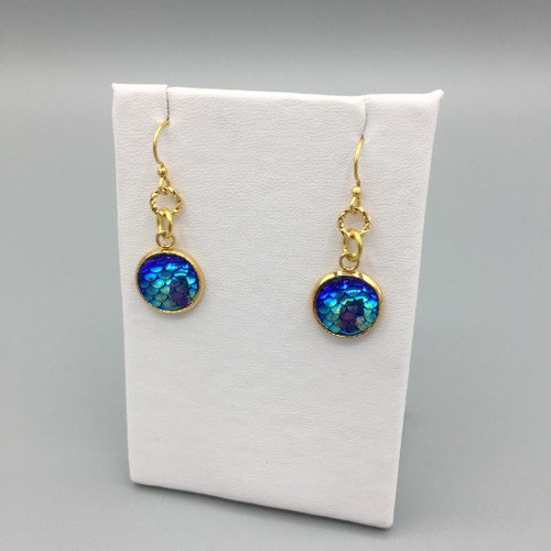 Blue Lagoon 12mm Mermaid Scale Dangle Earring