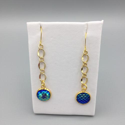 12mm Mermaid Scale Chain Drop Earrings