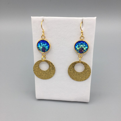 12mm Mermaid Scale Dangle Disc Earring