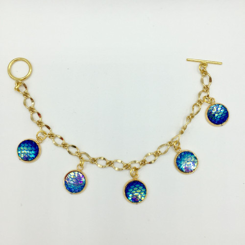 Blue Lagoon Mermaid Scale 5 Drop Charm Bracelet approx 7-7.5 inch