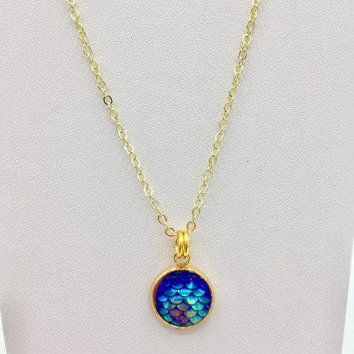 Blue Lagoon 12mm Mermaid Scale Necklace