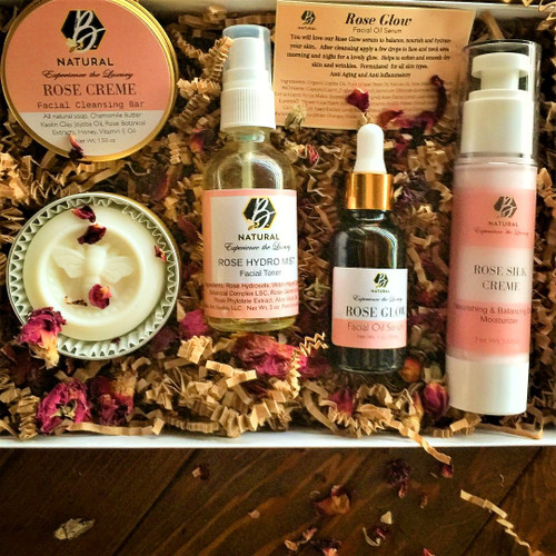 Rose Cream Cleansing Bar, Rose Hydrosol Mist, 1oz (30mls) Rose Glow Facial Oil Serum, and our exquisite Rose Silk Creme 1.60 oz Airless Pump Bottle