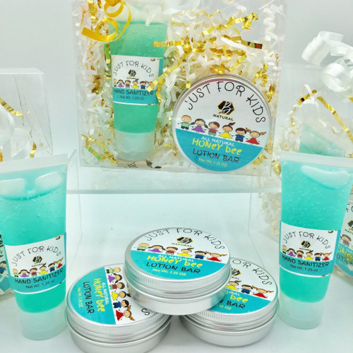 Gift Set comes packaged in clear envelope with metallic shred.  Formulated Just for Kids. Perfect for backpacks and keeping little hands germ free and soft. Full size lotion   Lotion Bar & Sanitizer Set Our all natural lotion bar provides a soft and silky application that is naturally scented with locally harvested beeswax. This is a perfect choice for kids backpacks or anytime to nourish and hydrate little hands.  Lotion bar is naturally scented with warm sweet honey fragrance of beeswax Ingredients: 91% Isoproply Alcohol, Aloe Vera Gel, PEG-6 Caprylic/ Capric Glycerides, Di-PPG-2 Myreth-10 Adipate, Eucalyptus, Peppermint and Lavender Essential Oils Brenda Wolfe, LLC Ponchatoula, LA 70454