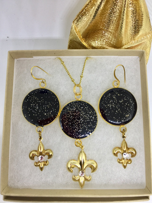 """Judy-New Orleans Fleur de' Lis  Black/Gold 25mm gift set by Brenda Wolfe. Embellished with Gold gilded charm  and Swarovski crystals. 26 """"Gold plated chain Pendant/Earrings 3"""" Length"""