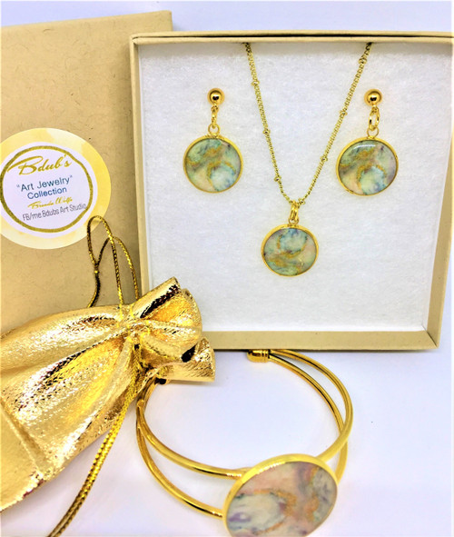 """Paige- 18"""" Gold plate chain /Necklace & Earrrings are 16 mm and Bracelet is 25mm Adjustable Cuff /Gold plated post Earrings"""