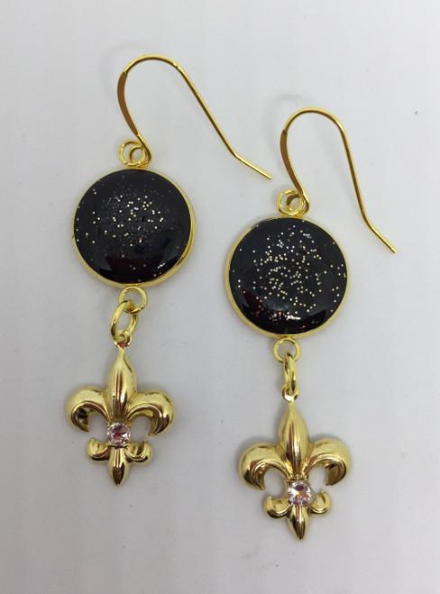 "Judy -Black/ Gold Fluer de lis drop earrings w/ Swarovski crystals- Length 2"""