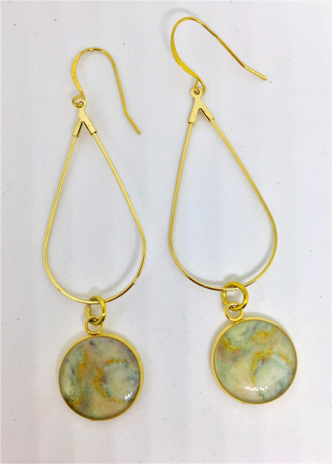 """16 mm design Length is 3 """" Teardrop Earring on Gold Plated French Wires Shop this Trendy Design for all seasons"""