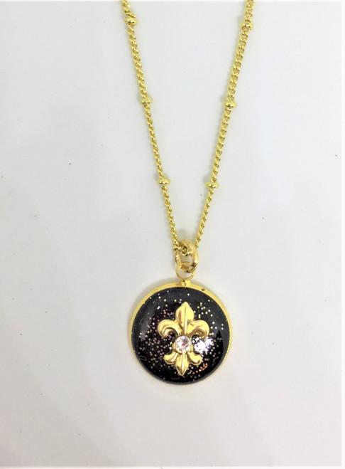Fleur de' Lis | Black/Gold 16 mm Necklace