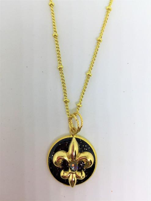 Eve-Fleur de' Lis | Black/Gold 18 mm Necklace