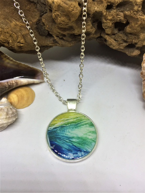 """Summer Days 25mm Pendant on 26"""" Silver Plated Chain"""