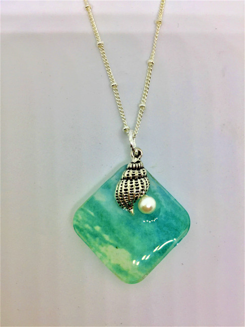 Summer Days Diagonal Seashell / Pearl Pendant